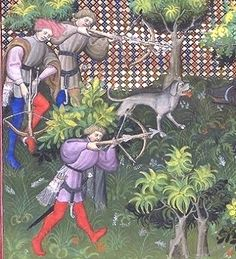 Crossbows used in boar hunt Gaston Phoebus Book of the Hunt 1405 Bibliotheque Nationale France