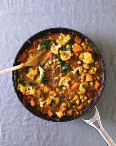This coconut cauliflower curry is always a hit, full of cauliflower, chickpeas, and sweet potatoes. A tomato-based sauce with a hint of curry powder adds savory flavor to the vegetables. Serve with brown rice for a hearty meal. Vegetable Recipes, Vegetarian Recipes, Healthy Recipes, Vegan Vegetarian, Paleo, Keto, Real Food Recipes, Cooking Recipes, Cauliflower Curry