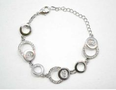 V.I.P. Silver Plated Crystal Set Double Open Circle Bracelet | eternity