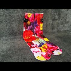 Flowers Socks Men Women Crew Graphic Street Sock Very stunning, unique and high quality Flowers socks, perfect for anyone! New! One Size - Fits Sizes 6-13 Check out my closet for more styles! Other