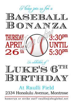 baseball invitation idea