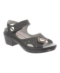 Look at this #zulilyfind! Black Cruise Leather Sandal #zulilyfinds