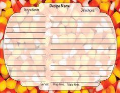 "Downloadable 4 X 6"" Halloween Recipe Card Food Names, Halloween Recipe, Recipe Cards, Prepping, Baking, Ethnic Recipes, Holiday, Vacations, Bakken"