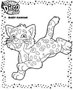 Diego en baby jaguar samen op 1 kleurplaat   Kleurplaten ...
