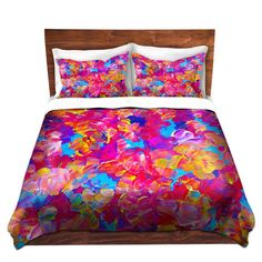 FLORAL Fine Art Duvet Covers Modern Pretty King Queen Twin Size Hot Pink Turquoise Flowers Abstract Painting Design Bedding by EbiEmporium, Lovely Chic Bold Colorful Whimsical Bedroom Dorm Room Style #colorful #modern #chic #floral #flowers #duvet #duvetcover #abstract #pink #hotpink #pretty #girlie #girly #stylish #contemporary #dorm #decor #homedecor