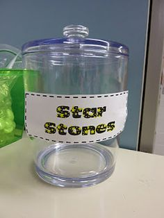 """I called this a """"Gem Jar"""" and the class earned gems for compliments they received when we were out and about in the school. For whole group management, add stars to the jar when the class is on task. When the jar is full, the class gets a reward. Star Themed Classroom, Space Theme Classroom, Stars Classroom, 4th Grade Classroom, Classroom Organization, Classroom Fun, Future Classroom, Whole Class Rewards, Rock Star Theme"""