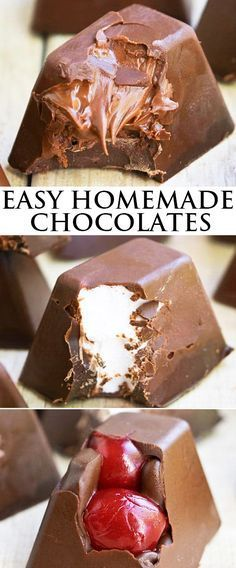 Learn how to make easy HOMEMADE GOURMET CHOCOLATES in an ice cube tray with any fillings you like- Nutella, fruits, nuts, ganache, marashmallows e. Pack them in a fancy box and it makes great as a homemade gift! From cakewhiz. Just Desserts, Delicious Desserts, Dessert Recipes, Gourmet Desserts, Plated Desserts, How To Make Desserts, How To Make Candy, Gourmet Candy, Recipes Dinner
