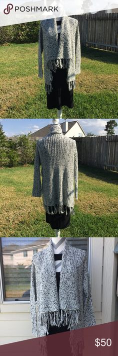 "New☃️ Chaus Arctic Landscape Sweater Beautiful sweater by Chaus! You can also stand up the collar and wrap it for staying warmer. Made of 83% acrylic 10% poly & 7% wool. Hand wash & line dry. 27"" long, 32"" with fringe. NWT CHAUS Sweaters"