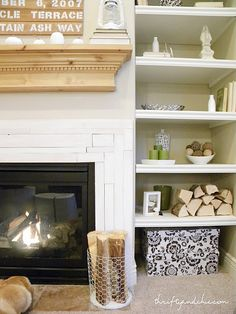 love the wood in the wastebasket next to the f.p. & in the bookshelf! Why isn't my wood that light and pretty?