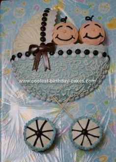 Homemade Baby Shower Carriage Cake. I like the way the m's make a cute design and the cute baby faces.