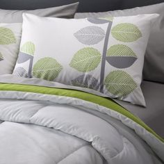 Climbing leaf comforter and pillows target.com, bedding, green and gray, lime and gray, bedroom