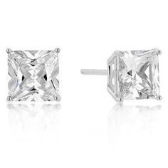Princess Stud - Sterling Silver Earrings with Clear CZ Stones