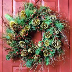 Golden Cones       ....most crafts stores sell pinecones that are prewired for holiday decorations. Look for a size to fit your wreath. Wire them onto a wreath in a circular direction, then garnish with twigs and berries.