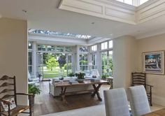 This conservatory extends from the dining area which incorporates a roof lantern with decorative timber panelling to the upstand Style At Home, Conservatory Dining Room, Georgian Doors, Roof Lantern, Timber Panelling, Pergola, Gazebo, Interior And Exterior, Interior Design
