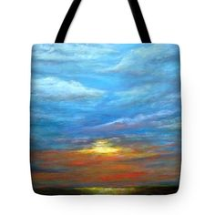 GOODBYE Tote Bag for sale by T Fry-Green. $31.00 The tote bag is machine washable, available in three different sizes, and includes a black strap for easy carrying on your shoulder. All totes are available for worldwide shipping and include a money-back guarantee. #goodbye #sunset #sun #evening #blue #bluesky #red #yellow  #fashionbag #tfrygreenart #tfrygreen #homeatlaststudio #art #original #tote #toteart #fineartamerica