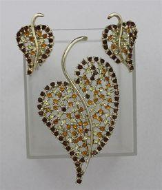Vintage DODD'S Swirling Leaf Brooch & Earrings Citron Amber Rhinestones Set  | eBay