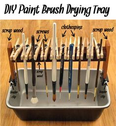 ('DIY Paint Brush Drying Tray...!')