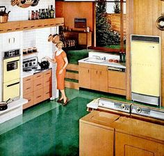 A Hot Point dream kitchen, Vintage Room, Vintage Home Decor, Vintage Kitchen, Retro Vintage, Vintage Homes, 1950s Kitchen, 1950s Decor, Retro Art, Vintage Stuff