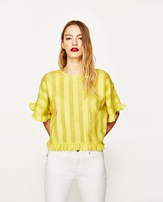 Image 2 of RUFFLED LINEN BLOUSE from Zara