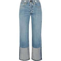 Rag & bone Embellished cropped high-rise straight-leg jeans found on Polyvore featuring jeans, pants, bottoms, light denim, blue jeans, straight leg jeans, high rise jeans, cropped jeans and high waisted jeans