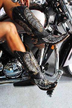 22c713f5b43c Bottes Moto, Blouson Cuir, Cuir Noir, Chaussure, Santiag, Bottes De Cowboy