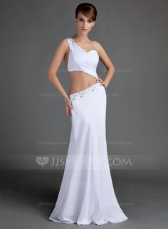Evening Dresses - $138.99 - Sheath One-Shoulder Floor-Length Chiffon Evening Dress With Ruffle Beading (017015674) http://jjshouse.com/Sheath-One-Shoulder-Floor-Length-Chiffon-Evening-Dress-With-Ruffle-Beading-017015674-g15674