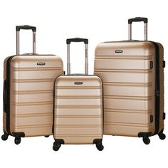 Rockland Luggage, Melbourne 3-pc. Expandable Hardside Spinner Luggage... (1.180 BRL) ❤ liked on Polyvore featuring bags, luggage and champagne