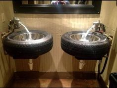 A sink that is also a tire ! perfect idea for a man cave ! Home Improvement Recycled Rubber