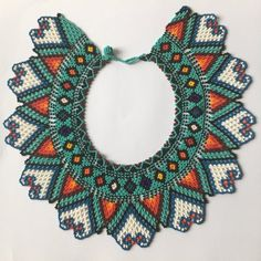Mar Azul is a handcrafted traditional necklace from Colombia, made by members of the Embera communit Crochet Necklace, Beaded Necklace, Necklaces, Native American Beadwork, Beads And Wire, Collar Necklace, Bead Weaving, Diy Jewelry, Traditional