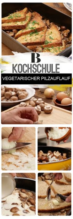 A vegetarian mushroom casserole is something wonderful – especially if it is prepared with white wine, cream, toast, parsley and lots of mushrooms. Healthy Freezer Meals, Healthy Salad Recipes, No Cook Meals, Vegetarian Recipes, Easy Meals, Healthy Food, Savoury Dishes, Food Dishes, Mushroom Casserole