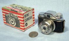 Mini Spy Camera & Box ~ 1950's Working Toy Novelty Original Old Vintage Dime Store Merchandise