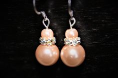 NEW LISTING - Blush Pearl Dangle Earrings with JEWELED rhondelles, topped with a small blush pearl - Womens Earrings - wedding - bridesmaid by 2PinkWingsStudio on Etsy