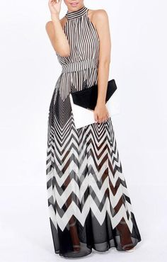 Chevron Striped  Halterneck Chiffon Maxi ~