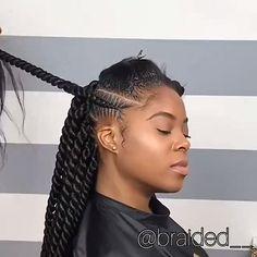 Senegalese braids - Home Twist Braid Hairstyles, Braided Hairstyles For Black Women, African Braids Hairstyles, Protective Hairstyles, Protective Styles, African Braids Styles, Feeder Braids Hairstyles, Canerow Hairstyles, Marley Braids Styles