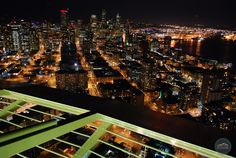 The view of Seattle from the Space Needle at night