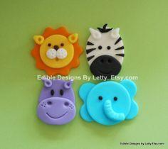 12 Edible Fondant Jungle Animals Cupcake Toppers - Elephant, Hippo, Lion &  Zebra. $17.95, via Etsy.