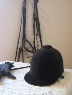 Vintage Equestrian Black Velvet Riding Helmet by ILikeThemOld on etsy $24