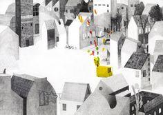 """Ilustração por Simone Rea - de """"L'uomo dei palloncini / O homem balão '(escrito por Giovanna Zoboli)"""