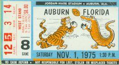 Auburn Football Art made from an authentic 1975 Auburn vs. Florida football ticket. Perfect Auburn football art for a game room or office. Get this Auburn football ticket on canvas, coasters, or a ROW 1™ football shirt.