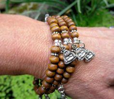 Buddha charm bracelet wrap bracelet brown wooden #beads #buddhist #meditation yog,  View more on the LINK: http://www.zeppy.io/product/gb/2/201770212891/