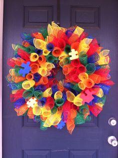 mesh ribbon Autism Awareness wreath