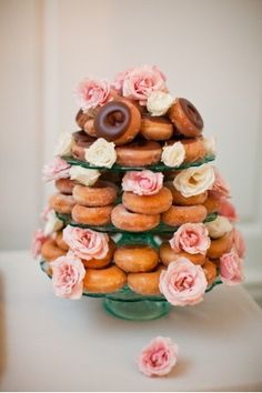 ring doughnut tower wedding cake idea