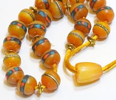 Handcrafted Greek Turkish worry beads of amberinlaid by FIPDesigns