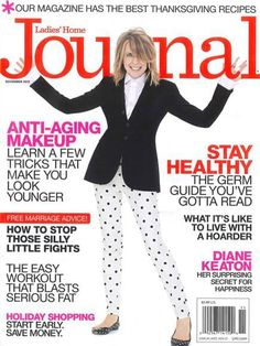 """Diane Keaton updates her signature """"Annie Hall"""" style with our polka dot Verdugo on the cover of Ladies' Home Journal."""