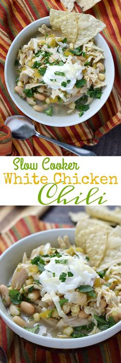 Stay warm and eat well with this healthy and delicious Slow Cooker White Chicken Chili that is loaded with flavor but goes easy on the heat! | cookingwithcurls.com
