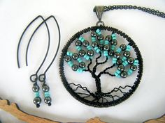 Break of Dawn Tree of Life Necklace Set by CandiSuesCreations, $38.00