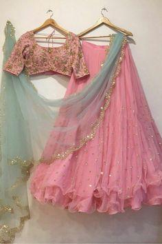 Pink Lehenga, Indian Lehenga, Lehenga Choli, Saree, Indian Dresses, Indian Outfits, Indian Clothes, Girls Fashion Clothes, Girl Fashion