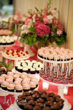 Miniature dessert table for a wedding