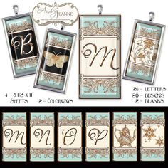 """HUGE set - four sheets of 8 1/2"""" x 11"""" printable pages. Two color ways,  Tiffany aqua blue, black and gold and Tiffany aqua blue, creamy off-white and gold. Each set has 26 letter alphabet, 2 blank designs to create your own and 20 varied art nouveau style elements from Laurel wreathed, crowns, shields, florals, butterflies and more. Small Commercial Crafting use allowed see Terms of Use. INSTANT DOWNLOAD #Blush #pink #Gold #Alphabet #monogram #artnouveau #jewelry #crafting #digital $8.95"""