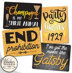 Signs for a Roaring speakeasy or Gatspy party. End prohibition! Party Props, I Party, Party Themes, Roaring 20s Party, 1920s Party, 1920s Speakeasy, Diy Photo Booth, Harlem Renaissance, Fun At Work